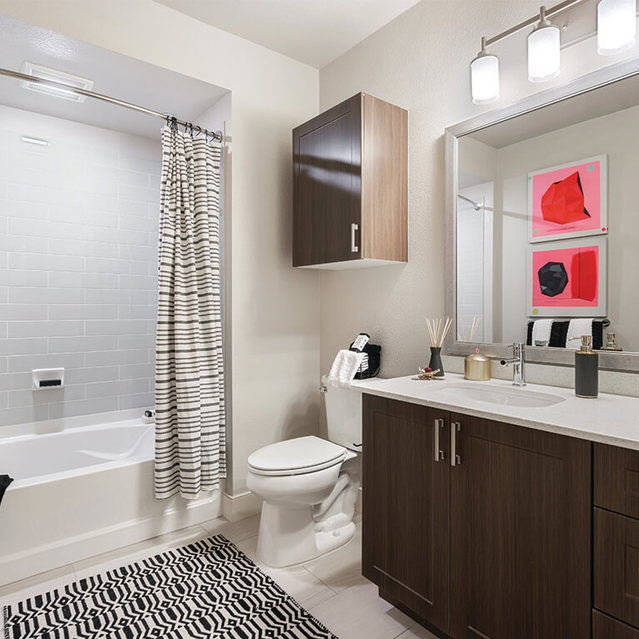 The James Apartments  - Spacious Bathroom with Huge Tub